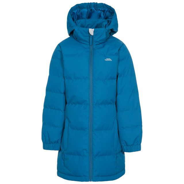 Trespass Girls Padded Jacket with Hood Tiffy in Blue, Front view on mannequin
