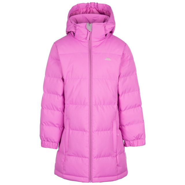 Trespass Girls Padded Jacket with Hood Tiffy Deep Pink, Front view on mannequin
