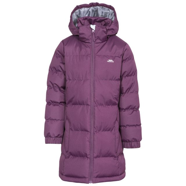Trespass Girls Padded Jacket with Hood Tiffy Potent Purple, Front view on mannequin