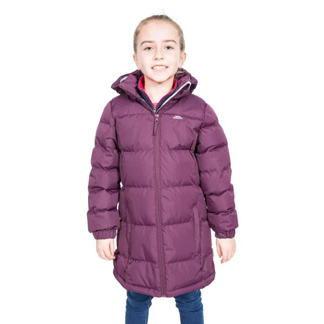 Trespass Girls Padded Jacket with Hood in Potent Purple Tiffy