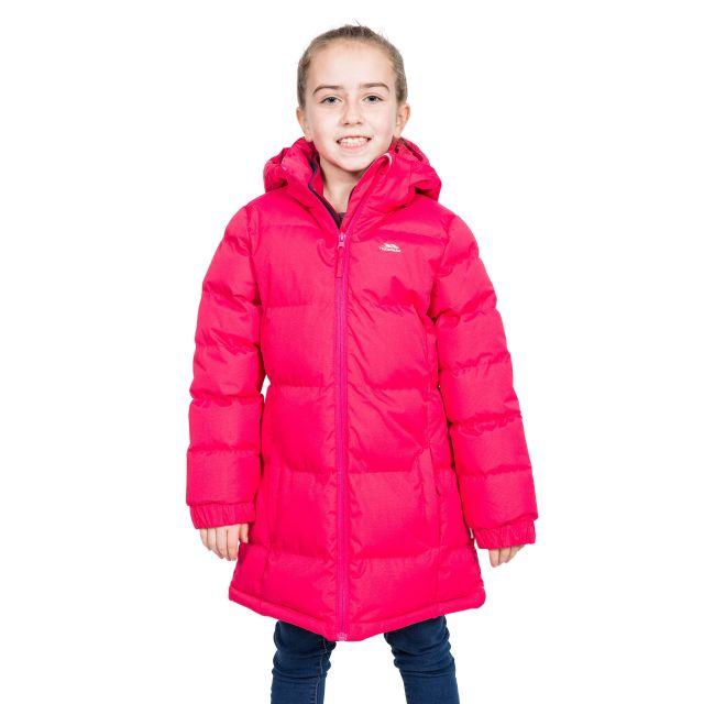 Trespass Girls Padded Jacket with Hood in Raspberry Tiffy