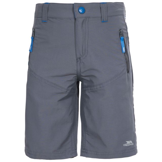Timer Kids' Water Resistant Shorts in Grey, Front view on mannequin