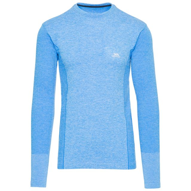 Timo Men's Long Sleeve Active Top in Blue, Front view on mannequin