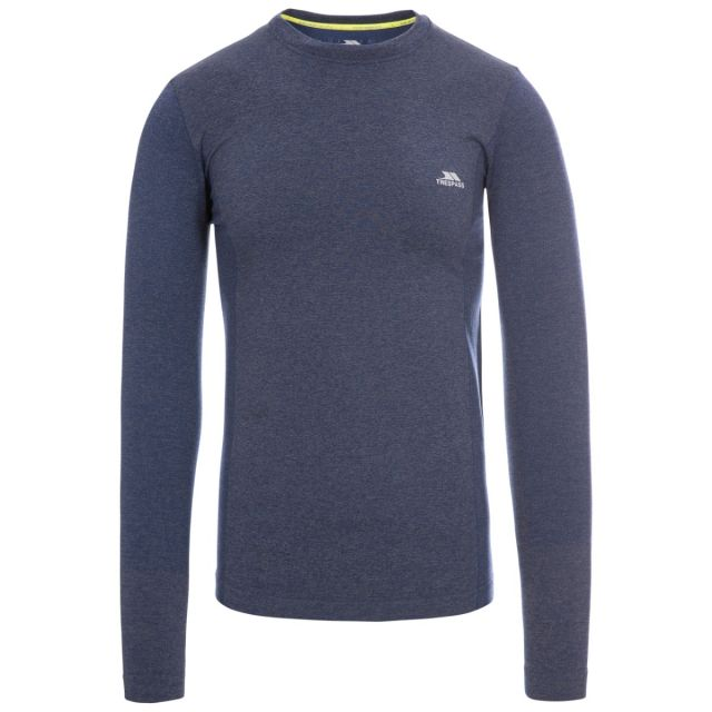 Timo Men's Long Sleeve Active Top in Navy, Front view on mannequin