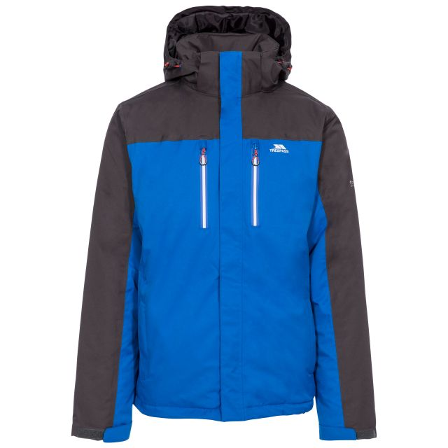 Tolsford Men's Hooded Waterproof Jacket in Blue, Front view on mannequin