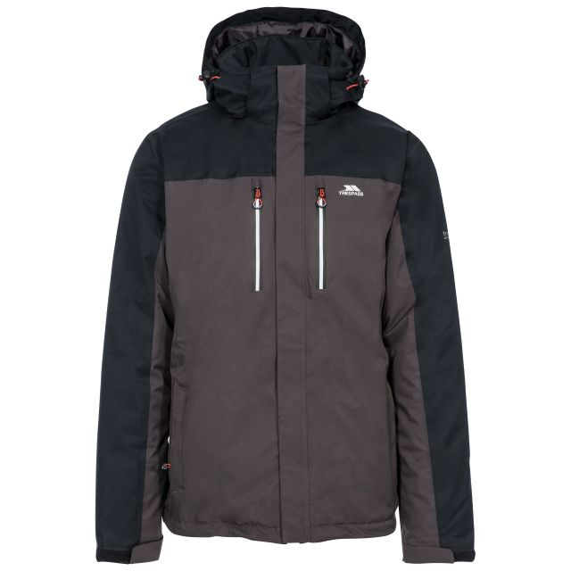 Tolsford Men's Hooded Waterproof Jacket in Grey, Front view on mannequin