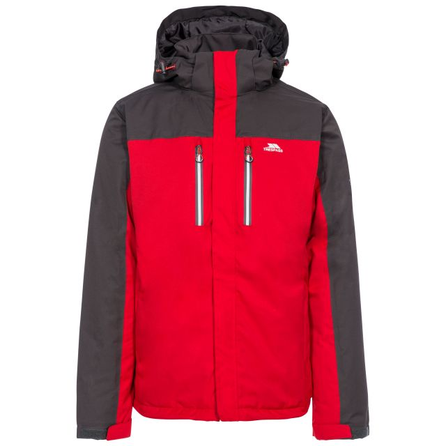 Tolsford Men's Hooded Waterproof Jacket in Red, Front view on mannequin