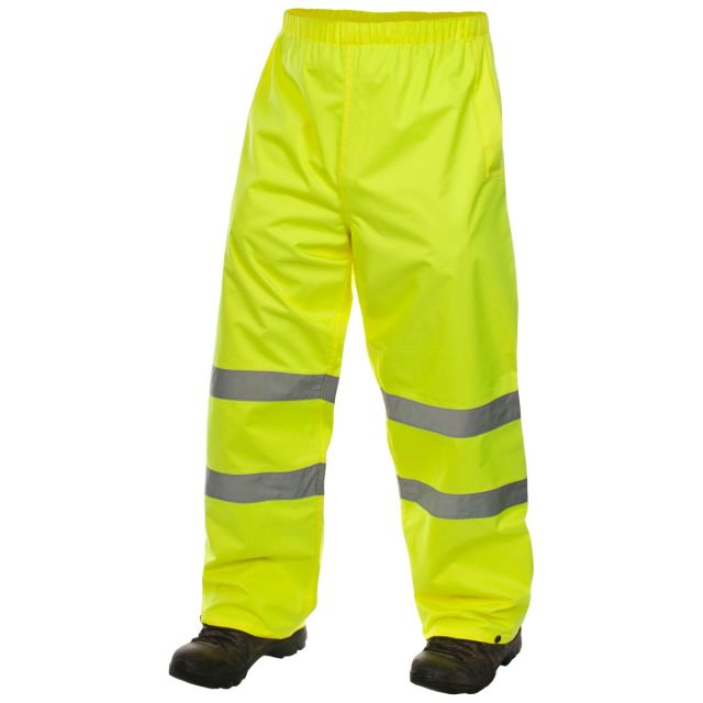 Tomo Adults' Hi Vis Waterproof Trousers in Yellow, Front view on model