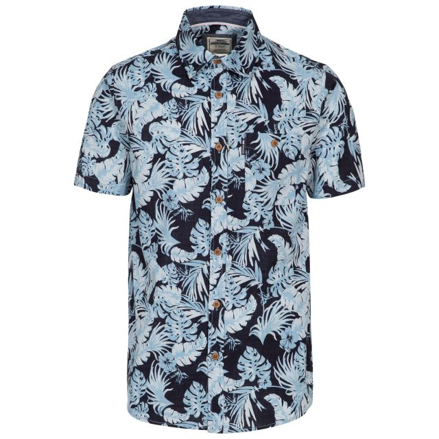 Torcross Men's Printed Shirt in Navy, Front view on mannequin