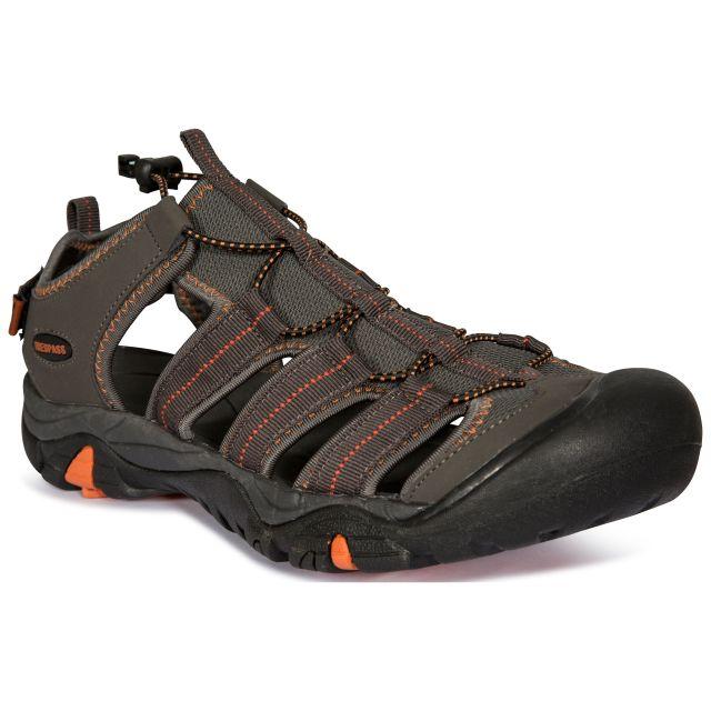 Torrance Men's Closed Toe Walking Sandals in Khaki, Angled view of footwear