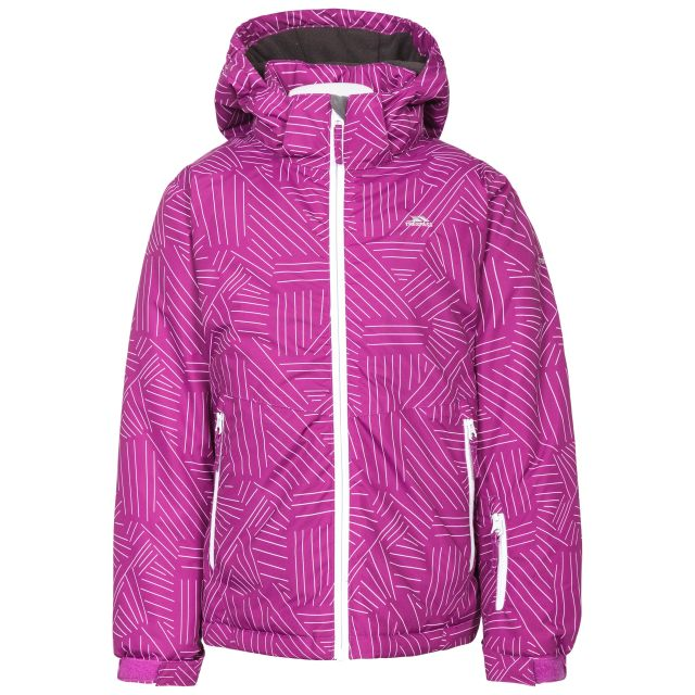 Touchline Girls' Ski Jacket in Purple, Front view on mannequin