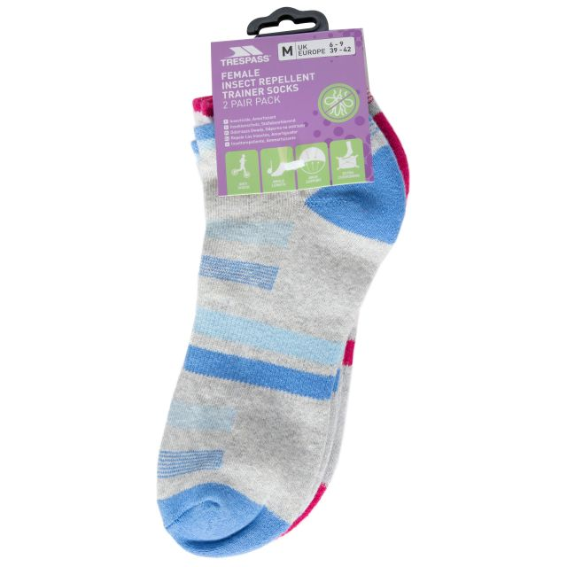 Trailing Women's Insect Repellent Trainer Socks in Assorted