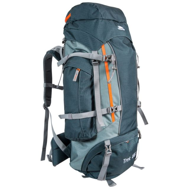 Trek 66 Litre Olive Rucksack with Waterproof Cover, Front view