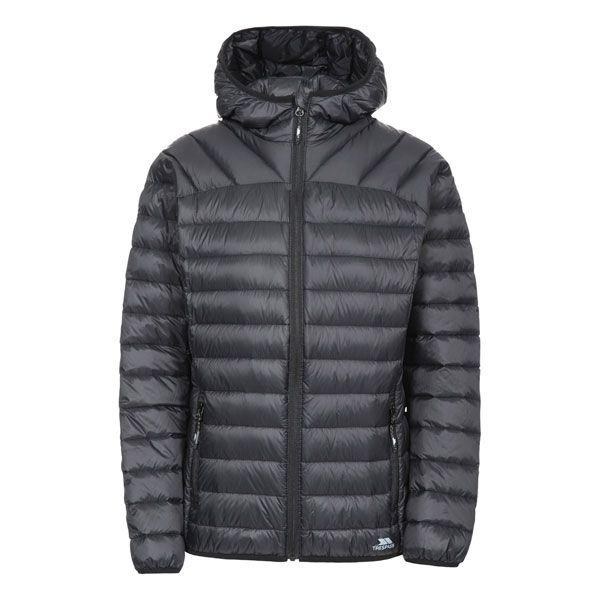 Trisha Women's Down Packaway Jacket in Black, Front view on mannequin