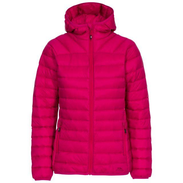 Trisha Women's Down Packaway Jacket in Pink, Front view on mannequin