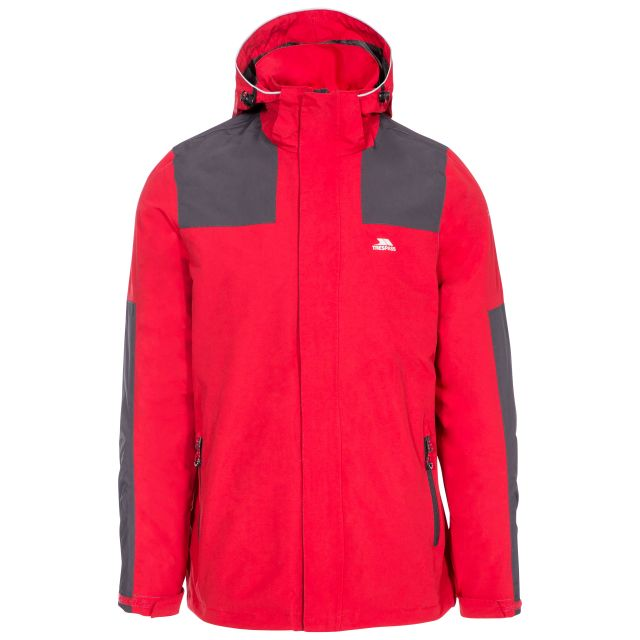 Trolamul Men's Waterproof Jacket in Red, Front view on mannequin
