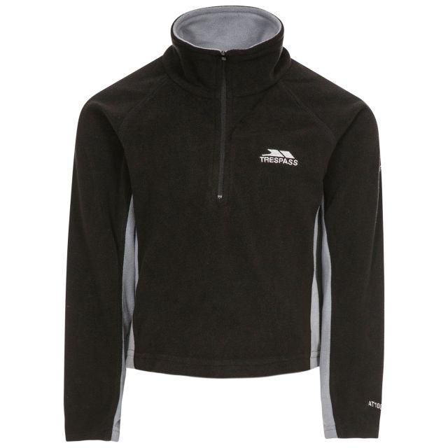 TRON Kids' Half Zip Fleece in Black, Front view on mannequin