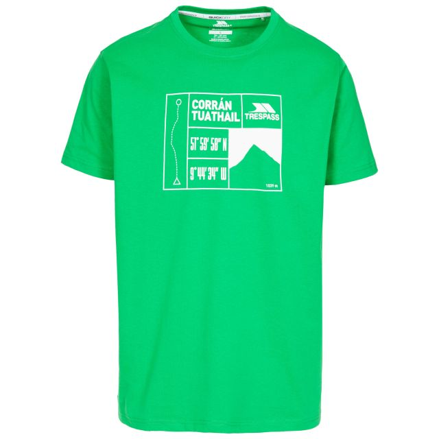 Tuathail Men's Printed Casual T-Shirt in Green, Front view on mannequin