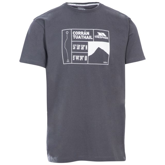Tuathail Men's Printed Casual T-Shirt in Grey, Front view on mannequin