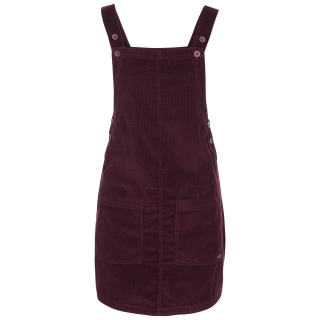 Twirl Women's Pinafore Dress in Purple, Front view on mannequin