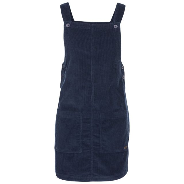 Twirl Women's Pinafore Dress in Navy, Front view on mannequin