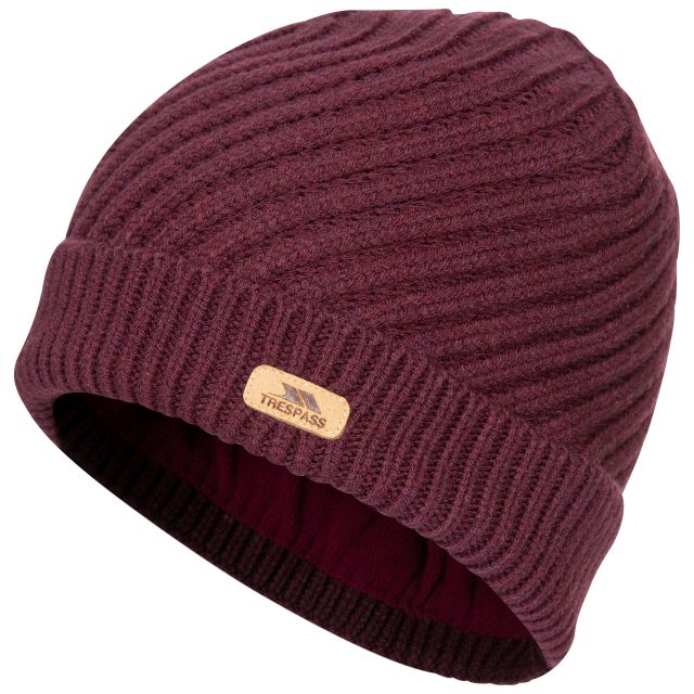 Twisted Women's Knitted Beanie in Purple, Hat at angled view