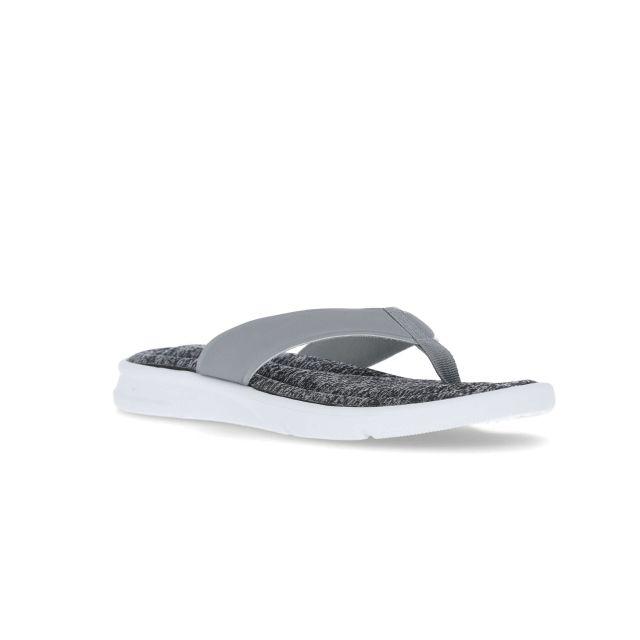 Tyde Womens Flip Flop Beach Sandal in Grey, Angled view of footwear