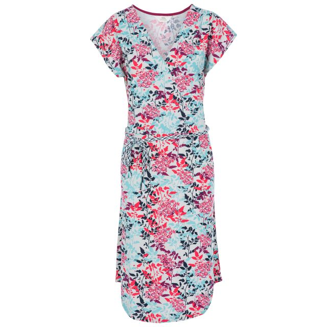 Una Women's Short Sleeve Dress in Pink, Front view on mannequin