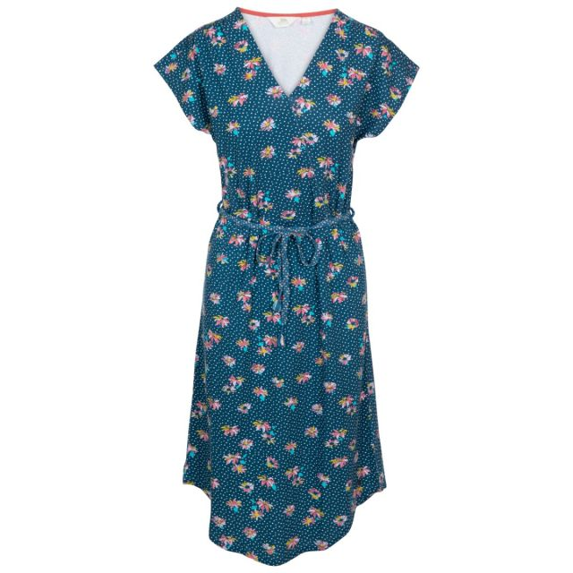 Una Women's Short Sleeve Dress in Blue, Front view on mannequin