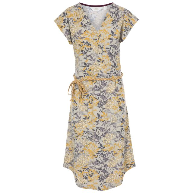 Una Women's Short Sleeve Dress in Yellow, Front view on mannequin