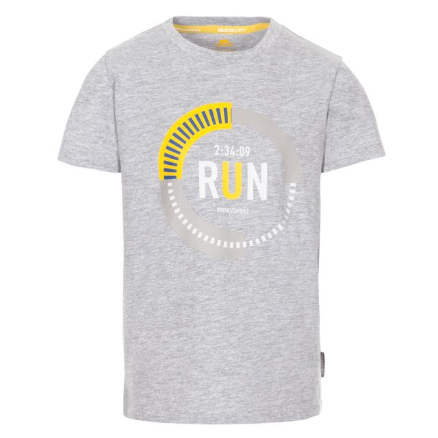Undaunted Kids' Printed T-Shirt in Light Grey, Front view on mannequin