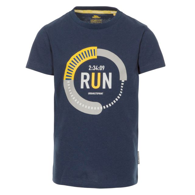 Undaunted Kids' Printed T-Shirt in Navy, Front view on mannequin
