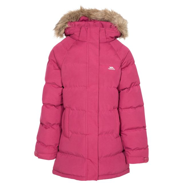 Unique Kids' Water Resistant Padded Jacket in Red, Front view on mannequin