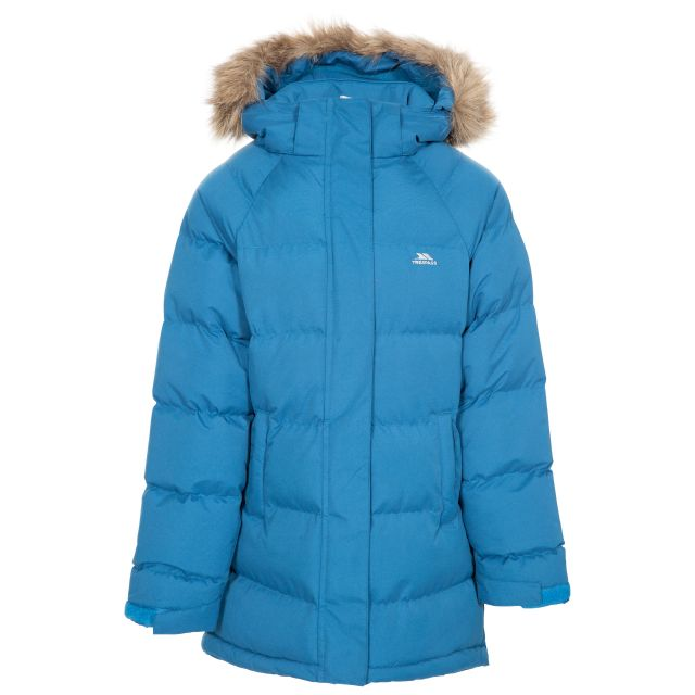 Unique Kids' Water Resistant Padded Jacket in Blue, Front view on mannequin