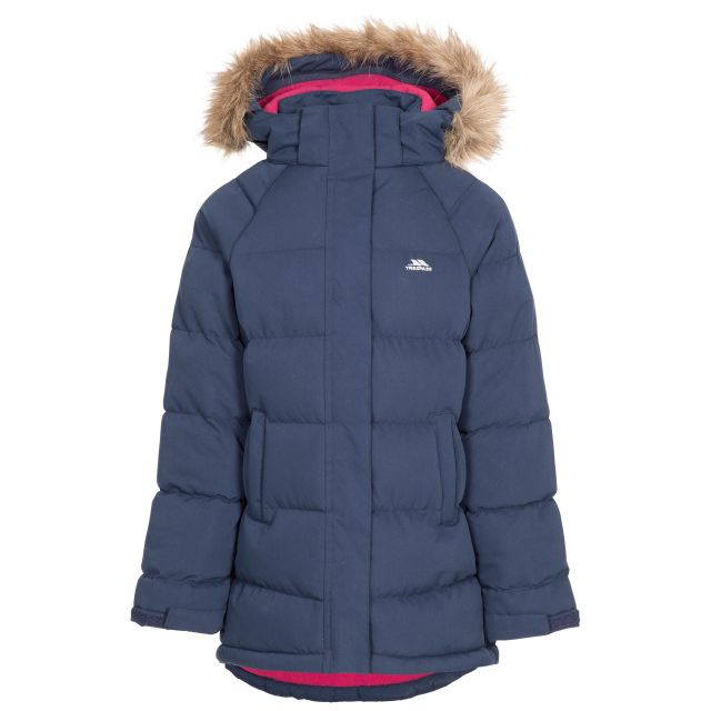 Unique Kids' Water Resistant Padded Jacket in Navy, Front view on mannequin