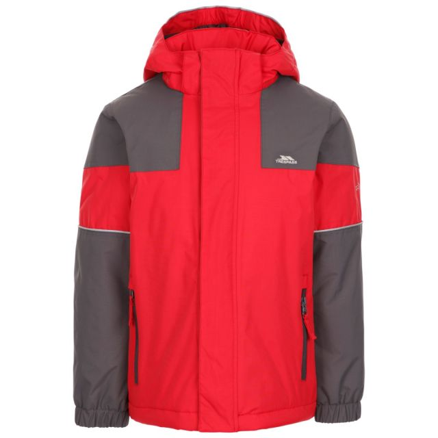 Trespass Kids' Padded Waterproof Jacket Unlock Red, Front view on mannequin