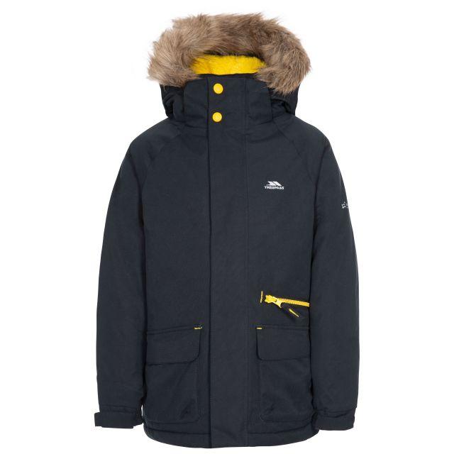 Upbeat Kids' Waterproof Parka Jacket in Black, Front view on mannequin