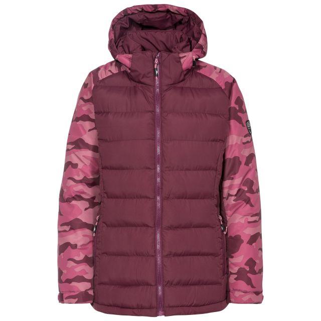 Urge Women's Windproof Ski Jacket in Purple, Front view on mannequin