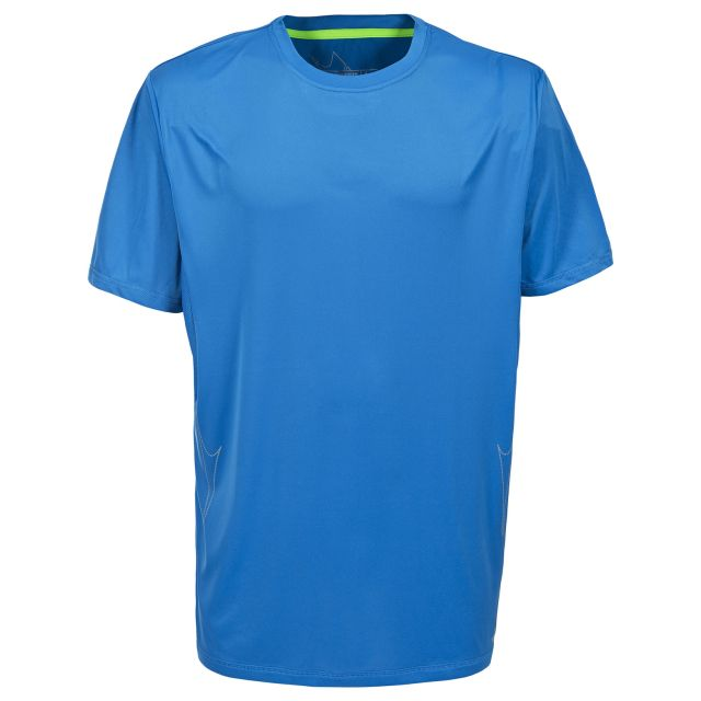 Uri Men's Quick Dry Active T-Shirt in Blue, Front view on mannequin