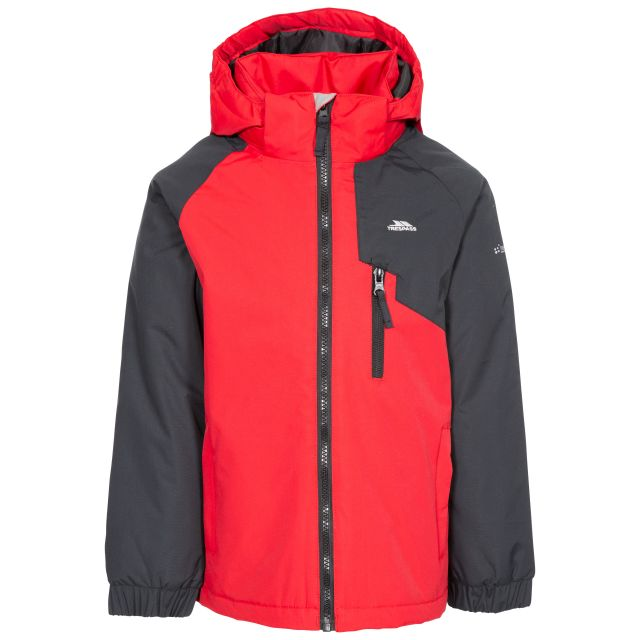 Useful Kids' Padded Waterproof Jacket in Red, Front view on mannequin