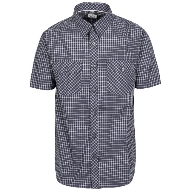 Uttoxeter Men's Cotton Short Sleeve Shirt in Grey, Front view on mannequin