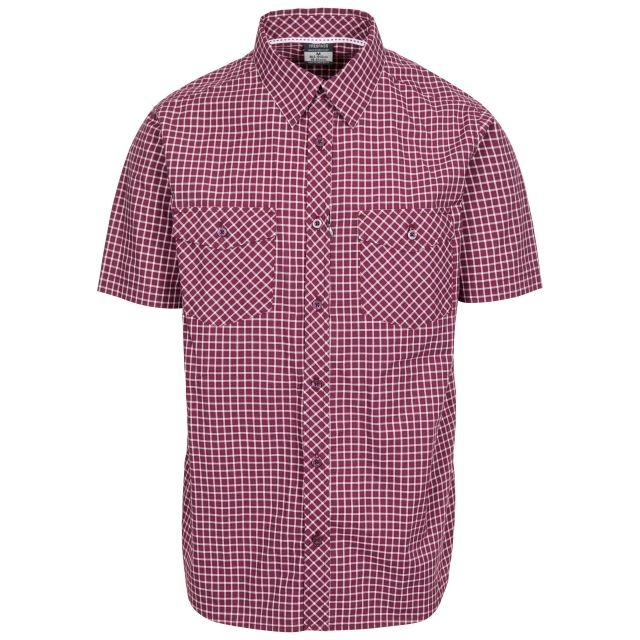 Uttoxeter Men's Cotton Short Sleeve Shirt in Purple, Front view on mannequin