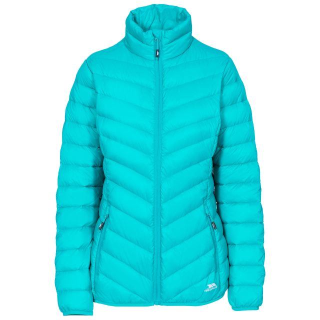 Valentina Women's Down Jacket in Green, Front view on mannequin