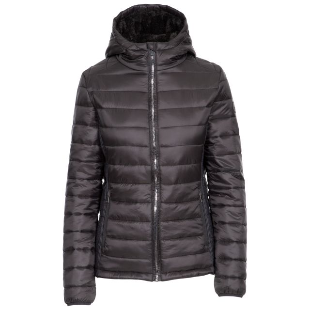 Valerie Women's Padded Jacket - BLK, Front view on mannequin