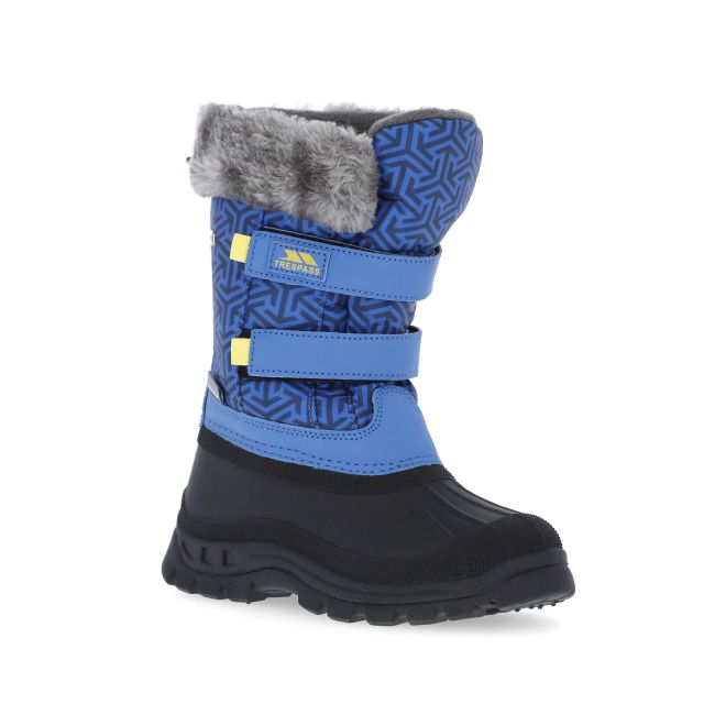 Vause Kids' Printed Snow Boots in Blue, Angled view of footwear