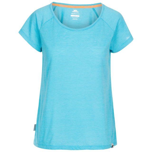 Trespass Women's Casual Short Sleeve T-Shirt Vera Blue, Front view on mannequin