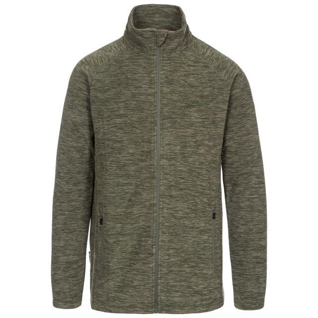 Veryan Men's Fleece Jacket in Green, Front view on mannequin
