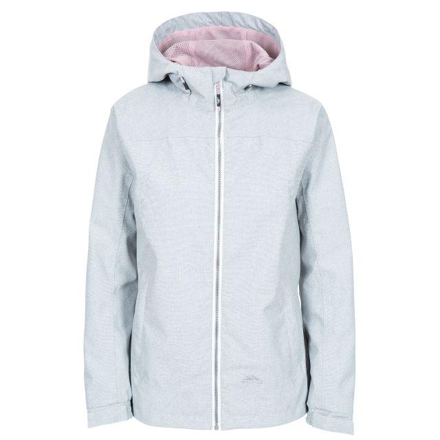 Virtual Women's Waterproof Jacket in Light Grey, Front view on mannequin