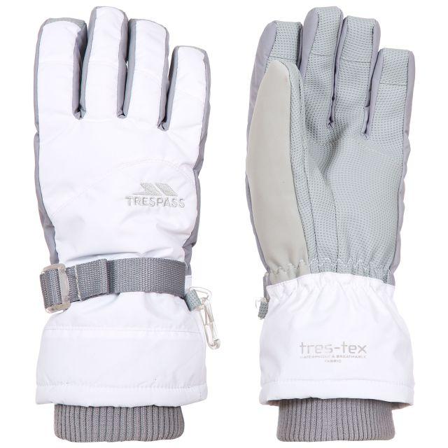 Trespass II Kids Waterproof Ski Gloves in White Vizza