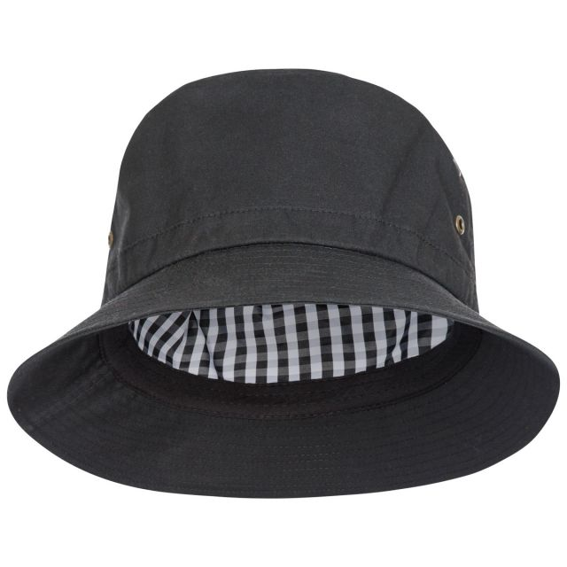Trespass Adults Bucket Hat Black Inner Check Detail in Black Waxy